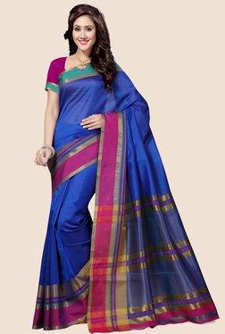 Saree Swarg Blue Solid Saree
