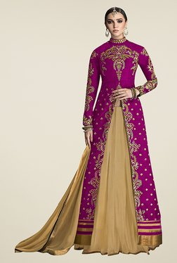 Ethnic Basket Pink Semi Stitched Lehenga Suit Set