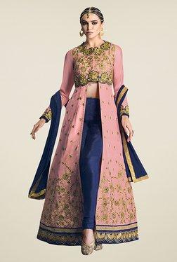 Ethnic Basket Pink & Navy Semi Stitched Anarkali Suit Set