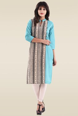 Hirshita Sky Blue Printed Regular Fit Kurti