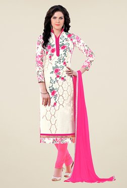 Ethnic Basket Off White & Pink Glaze Cotton Dress Material