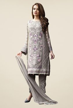 Ethnic Basket Grey Georgette Semi Stitched Salwar Suit Set