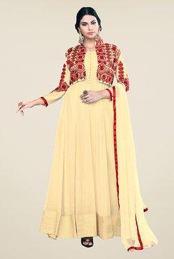 Ethnic Basket Beige Semi Stitched Anarkali Suit Set