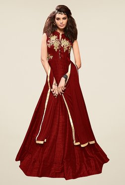 Ethnic Basket Maroon Silk Semi Stitched Gown Suit Set