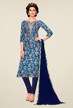 Ethnic Basket Blue Glaze Cotton Dress Material