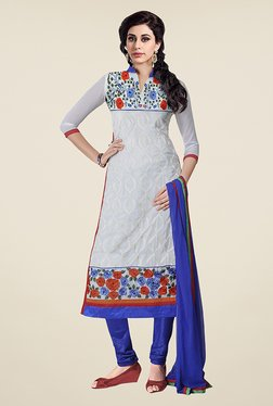 Ethnic Basket Off White & Blue Faux Georgette Dress Material