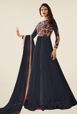 Ethnic Basket Black Net Semi Stitched Anarkali Suit Set