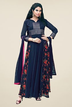 Ethnic Basket Navy Semi Stitched Anarkali Suit Set