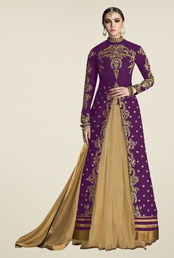 Ethnic Basket Purple Semi Stitched Lehenga Suit Set
