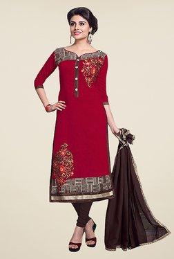 Ethnic Basket Maroon & Brown Chanderi Cotton Dress Material
