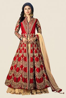 Ethnic Basket Red & Beige Silk Lehenga Suit Set
