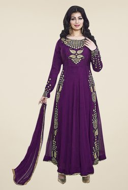 Ethnic Basket Purple Semi Stitched Anarkali Suit Set