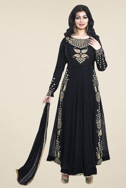 Ethnic Basket Black Semi Stitched Anarkali Suit Set - Mp000000000996235