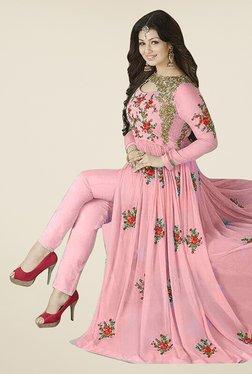 Ethnic Basket Pink Georgette Semi Stitched Anarkali Suit Set