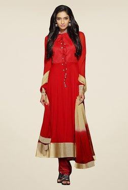 Ethnic Basket Red Chiffon Semi Stitched Salwar Suit Set