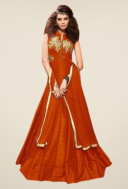 Ethnic Basket Orange Silk Semi Stitched Gown Suit Set