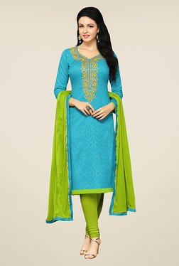 Ethnic Basket Blue & Green Cotton Dress Material