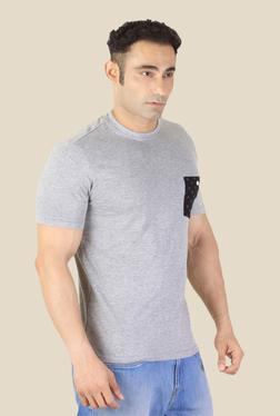 Ishwa Melange Grey Cotton Crew Neck T-Shirt