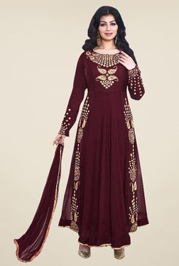 Ethnic Basket Maroon Semi Stitched Anarkali Suit Set