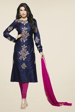 Ethnic Basket Navy & Pink Cotton Semi Stitched Suit Set