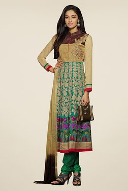 Ethnic Basket Beige & Green Semi Stitched Salwar Suit Set