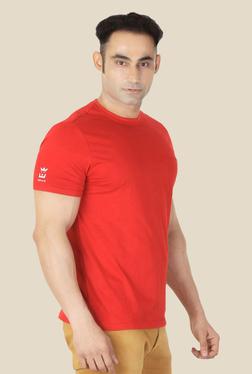 Ishwa Red Cotton Crew Neck T-Shirt