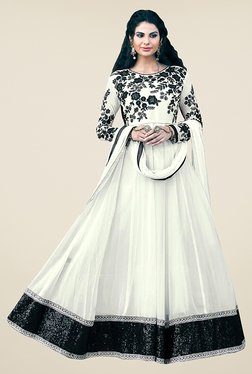 Ethnic Basket White Semi Stitched Anarkali Suit Set