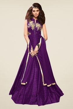 Ethnic Basket Purple Silk Semi Stitched Gown Suit Set