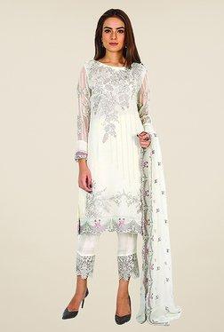 Ethnic Basket White Georgette Semi Stitched Salwar Suit Set