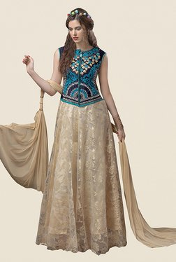 Ethnic Basket Beige Brasso & Semi Stitched Gown Suit Set