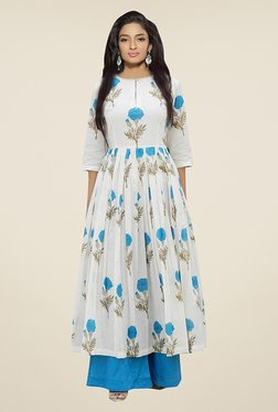 Ethnic Basket White & Blue Banglori Silk Palazzo Suit Set
