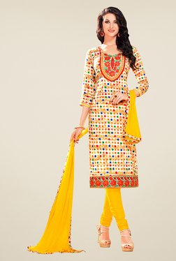 Ethnic Basket Off White & Yellow Glaze Cotton Dress Material