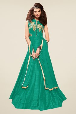 Ethnic Basket Green Taffeta Silk Semi Stitched Gown Suit Set