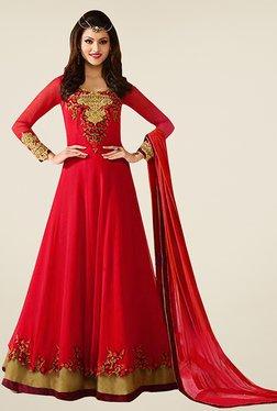 Ethnic Basket Red Georgette Semi Stitched Anarkali Suit Set