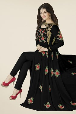 Ethnic Basket Black Semi Stitched Anarkali Suit Set