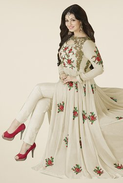 Ethnic Basket Cream Semi Stitched Anarkali Suit Set