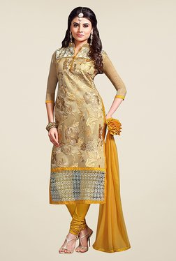 Ethnic Basket Beige & Yellow Chanderi Cotton Dress Material