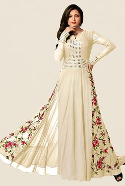 Ethnic Basket Cream Semi Stitched Anarkali Suit Set - Mp000000000997078