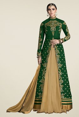 Ethnic Basket Green Semi Stitched Lehenga Suit Set