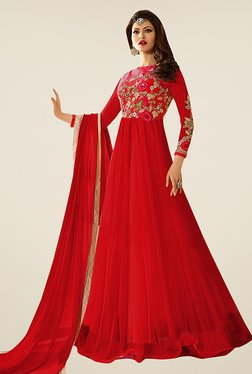 Ethnic Basket Red Net Semi Stitched Anarkali Suit Set