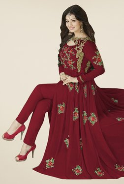 Ethnic Basket Maroon Semi Stitched Anarkali Suit Set - Mp000000000997152
