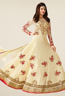 Ethnic Basket Beige Semi Stitched Anarkali Suit Set - Mp000000000997252