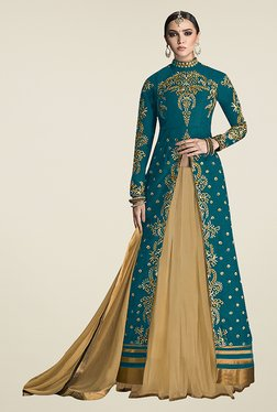 Ethnic Basket Teal Semi Stitched Lehenga Suit Set