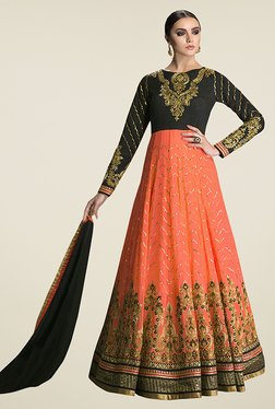 Ethnic Basket Peach & Black Semi Stitched Anarkali Suit Set