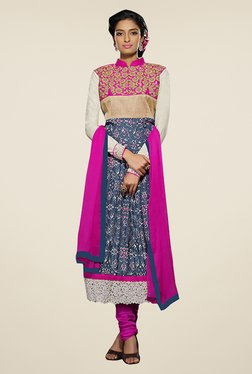 Ethnic Basket Navy & Pink Semi Stitched Salwar Suit Set