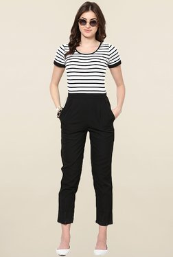 Magnetic Designs Black Striped Jumpsuit