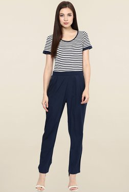 Magnetic Designs Navy Striped Jumpsuit