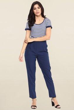 Magnetic Designs Blue Striped Jumpsuit