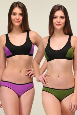 Urbaano Green & Purple Cotton Lingerie Set (Pack of 2)