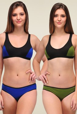 Urbaano Green & Blue Cotton Lingerie Set (Pack Of 2)
